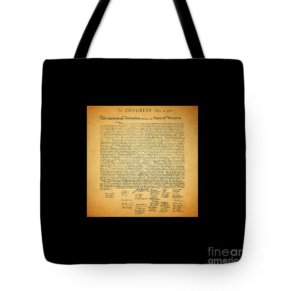 The United States Declaration Of Independence - Square Black Border Tote Bag by Wingsdomain Art and Photography
