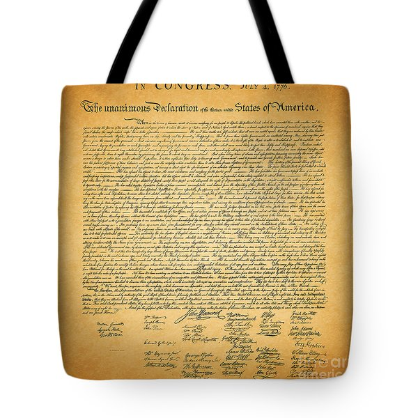 The United States Declaration of Independence - square Tote Bag by Wingsdomain Art and Photography