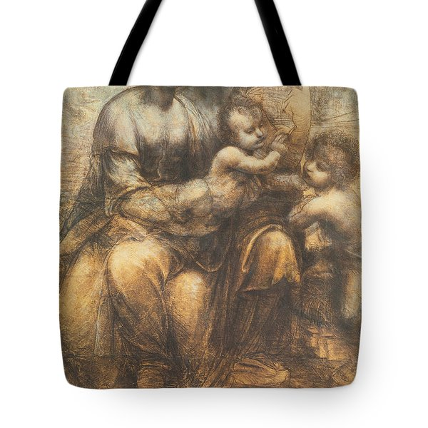 The Virgin And Child With Saint Anne And The Infant Saint John The Baptist Tote Bag by Leonardo Da Vinci