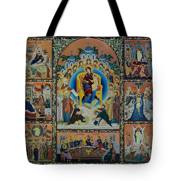 The Virgin Mary With Angels Tote Bag by Claud Religious Art