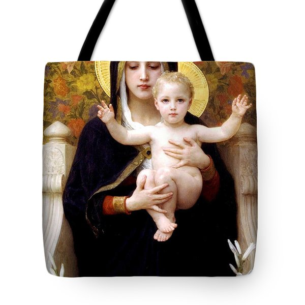 The Virgin Of The Lilies Tote Bag by William Bouguereau