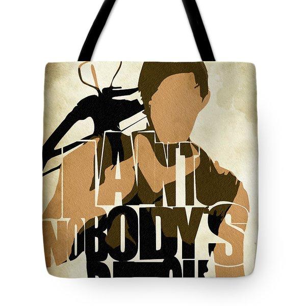 The Walking Dead Inspired Daryl Dixon Typographic Artwork Tote Bag by Ayse Deniz