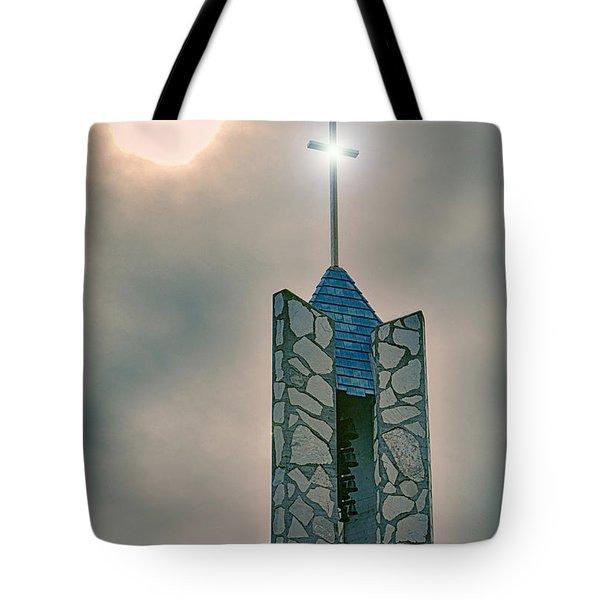 The Wayfarers Chapel Steeple Tote Bag by Donna Greene