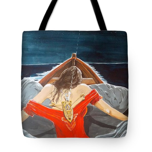 the whims of the moon listen with music of the description box Tote Bag by Lazaro Hurtado