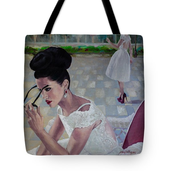 The White Lace Dress Tote Bag by Dorina  Costras