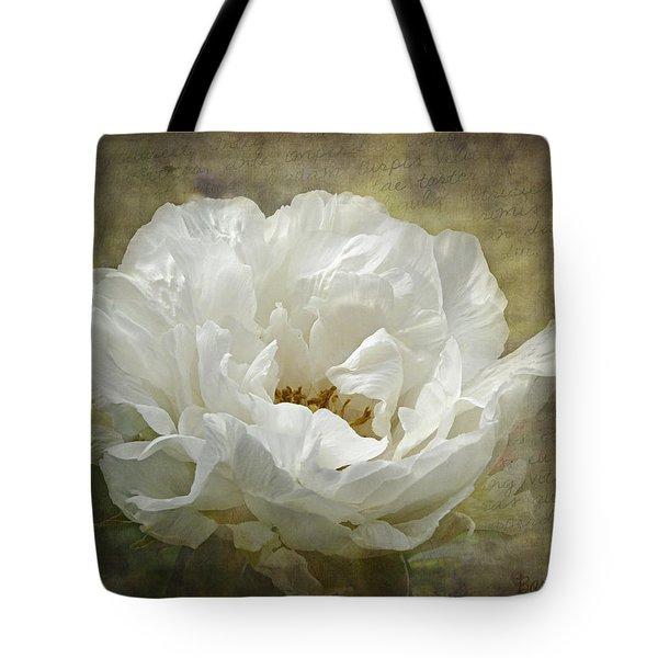 The White Peony Tote Bag by Barbara Orenya
