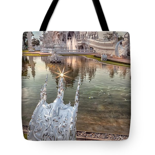 The White Temple Tote Bag by Adrian Evans