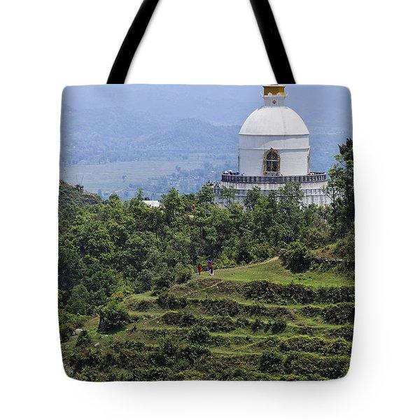 The World Peace Pagoda Pokhara Tote Bag by Robert Preston