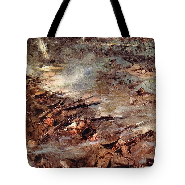Their Men Advanced In Dense Masses Tote Bag by Cyrus Cuneo