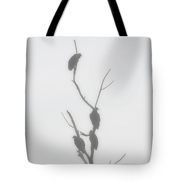 Their Waiting Four Black Vultures In Dead Tree Tote Bag by Chris Flees