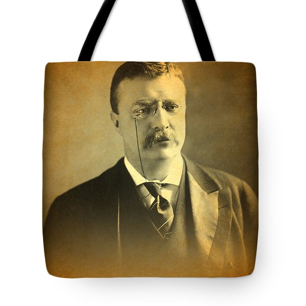 Theodore Teddy Roosevelt Portrait And Signature Tote Bag by Design Turnpike