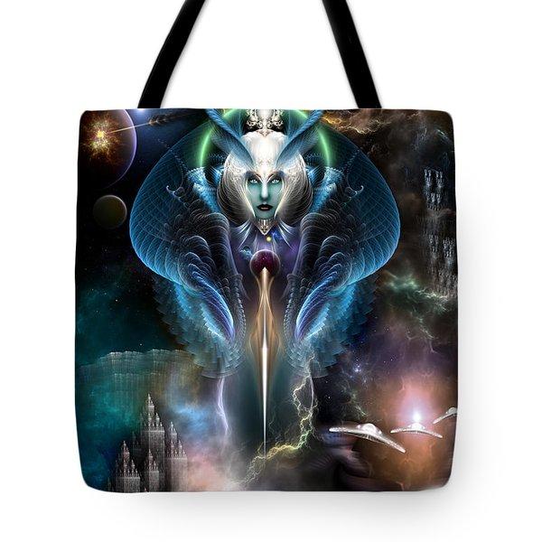 Thera Queen Of The Galaxy Tote Bag by Rolando Burbon