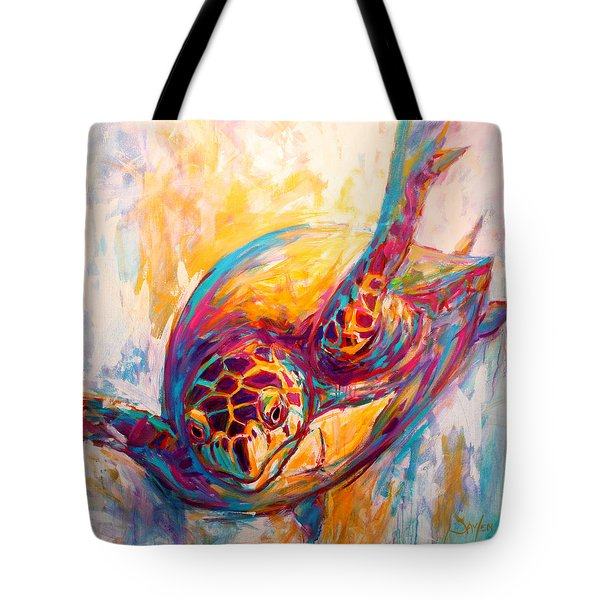 There's More than Just fish in the Sea - Sea Turtle Art Tote Bag by Savlen Art