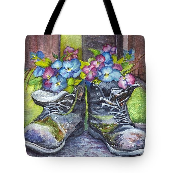 These Boots Were Made For Planting Tote Bag by Carol Wisniewski