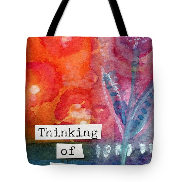 Thinking Of You Art Card Tote Bag by Linda Woods