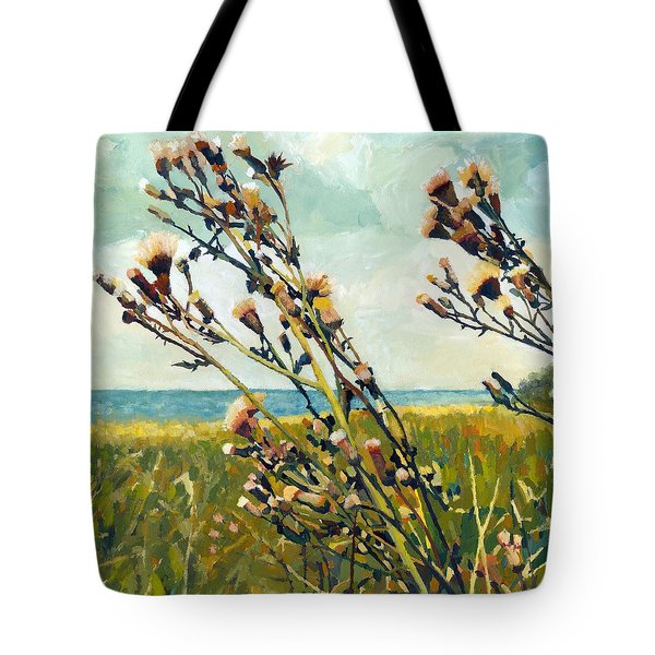 Thistles On The Beach - Oil Tote Bag by Michelle Calkins