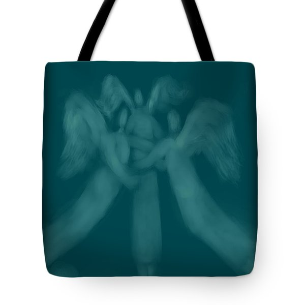 Three Angel Playing Among Clouds Tote Bag by Andreja Hotko Pavic
