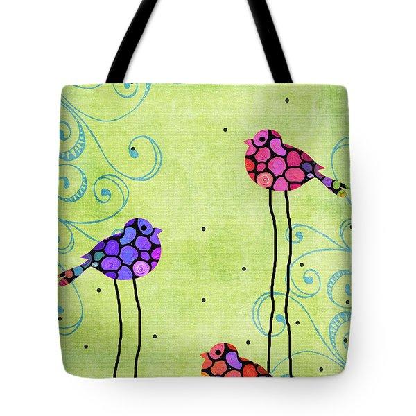 Three Birds - Spring Art By Sharon Cummings Tote Bag by Sharon Cummings