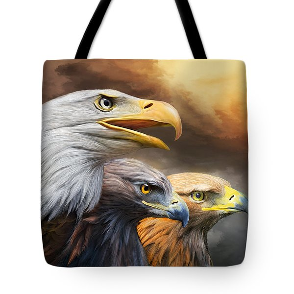 Three Eagles Tote Bag by Carol Cavalaris