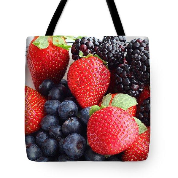 Three Fruit - Strawberries - Blueberries - Blackberries Tote Bag by Barbara Griffin