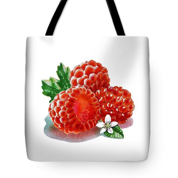 Three Happy Raspberries Tote Bag by Irina Sztukowski