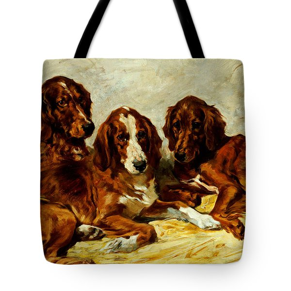 Three Irish Red Setters Tote Bag by John Emms