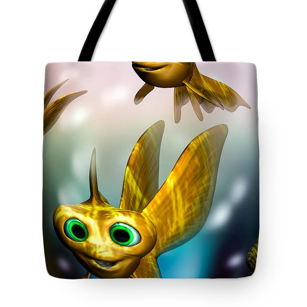 three little fishies and a mama fishie too Tote Bag by Bob Orsillo