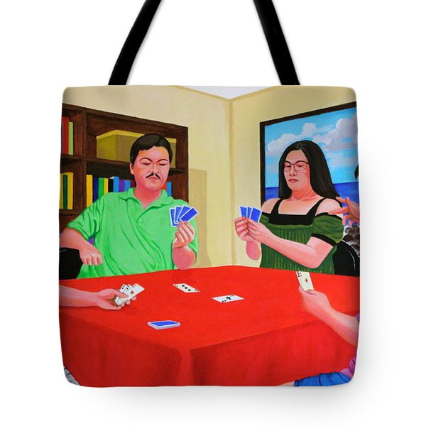 Three Men And A Lady Playing Cards Tote Bag by Cyril Maza
