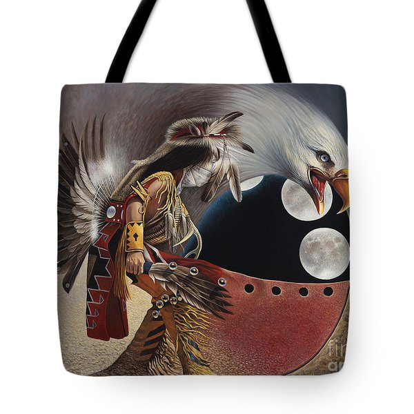 Three Moon Eagle Tote Bag by Ricardo Chavez-Mendez