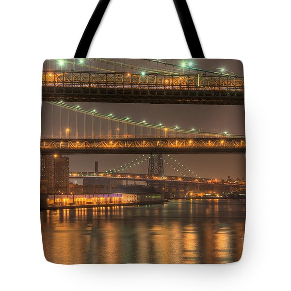 Three New York Bridges Tote Bag by Clarence Holmes