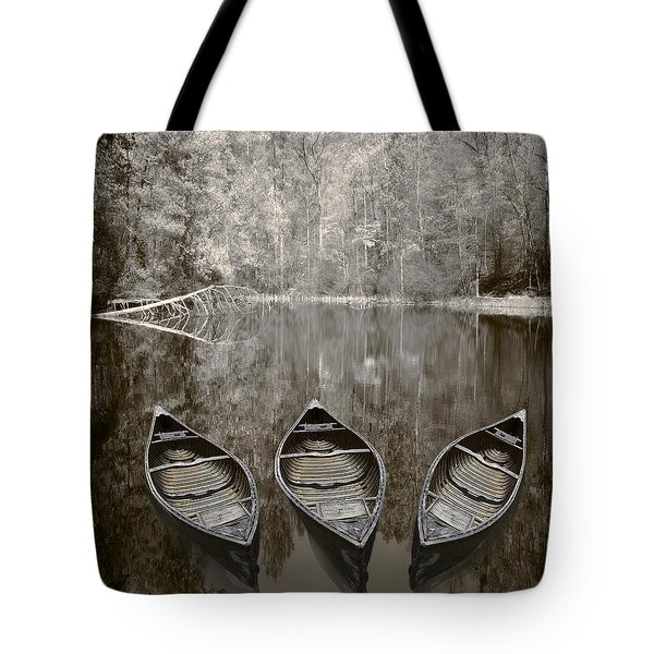 Three Old Canoes Tote Bag by Debra and Dave Vanderlaan