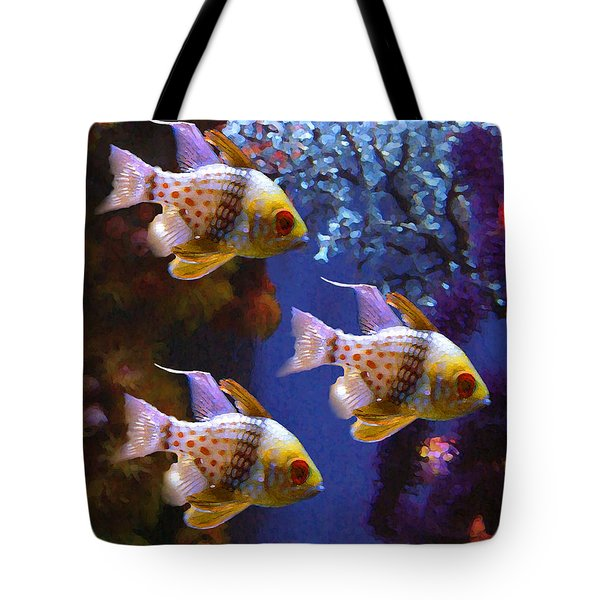 Three Pajama Cardinal Fish Tote Bag by Amy Vangsgard