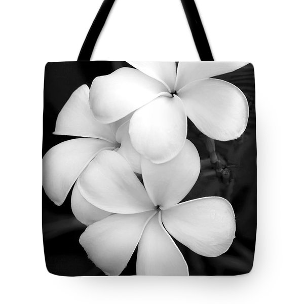 Three Plumeria Flowers in Black and White Tote Bag by Sabrina L Ryan