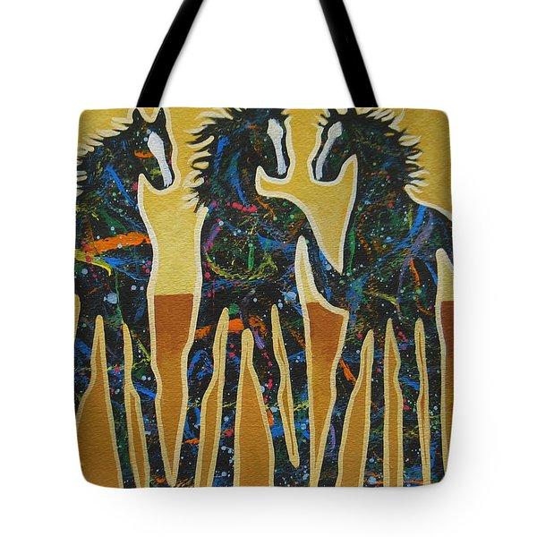 Three Ponies Tote Bag by Lance Headlee