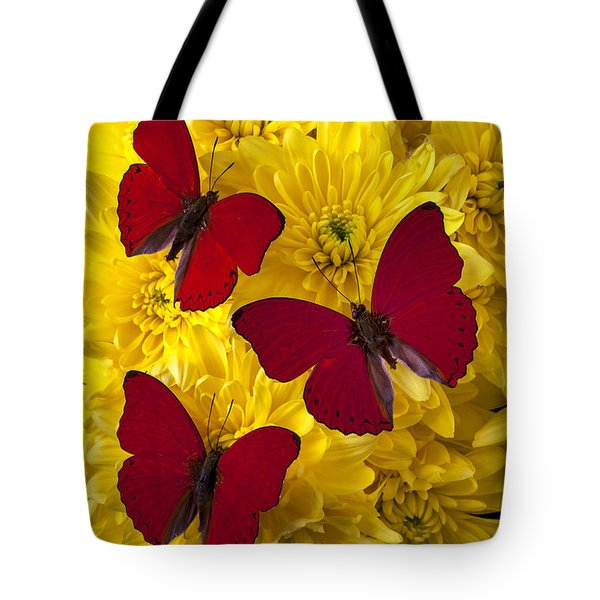 Three Red Butterflys Tote Bag by Garry Gay