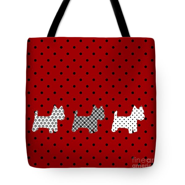 Three S Red And Black Polka Dots Throw Pillow Tote Bag by Natalie Kinnear
