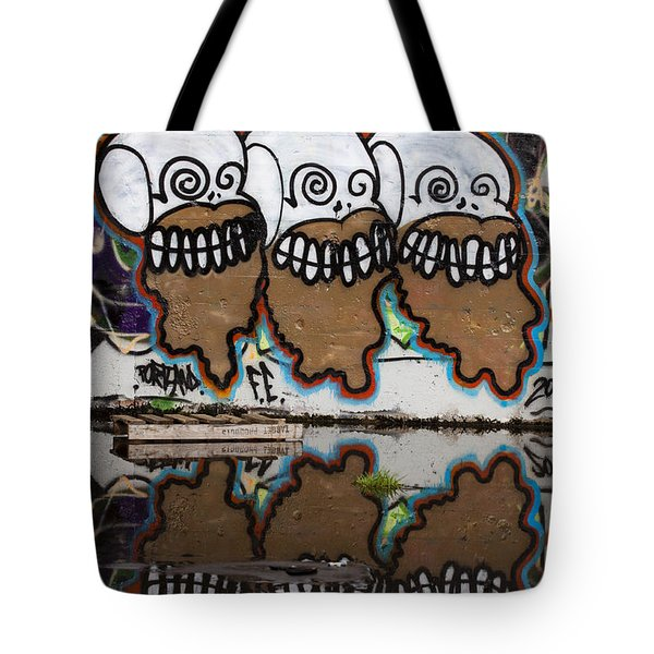 Three Skulls Graffiti Tote Bag by Carol Leigh