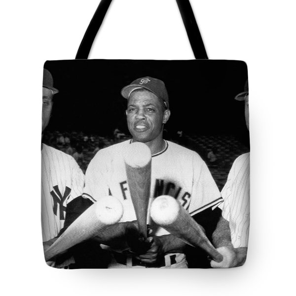 Three Slugging Outfielders Tote Bag by Underwood Archives