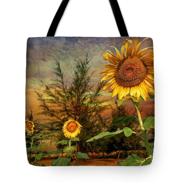 Three Sunflowers Tote Bag by Adrian Evans
