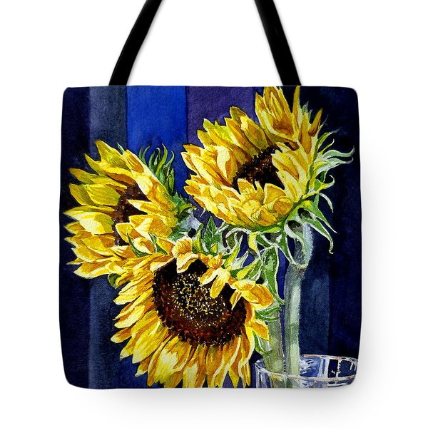 Three Sunny Flowers Tote Bag by Irina Sztukowski