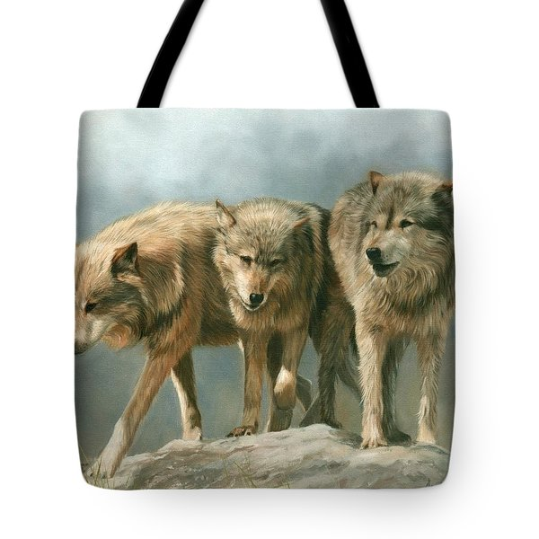 Three Wolves Tote Bag by David Stribbling