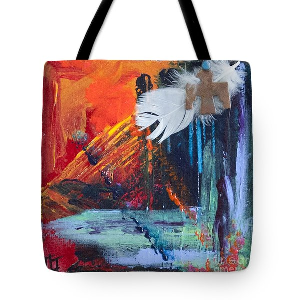 Thunder Bird Abstract Tote Bag by Tracy L Teeter