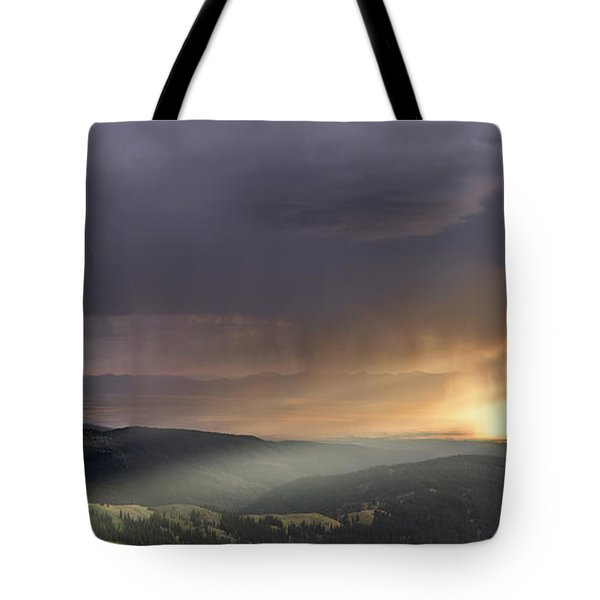 Thunder Shower And Lightning Over Teton Valley Tote Bag by Leland D Howard