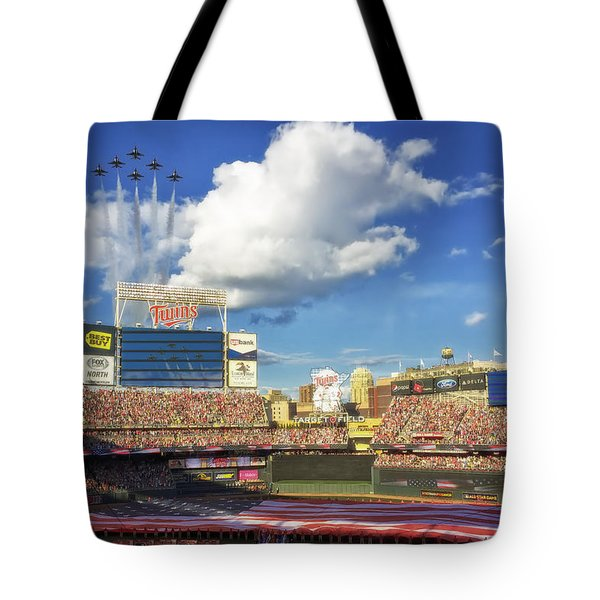 Thunderbird Flyover at Target Field for All Star Game Tote Bag by Mountain Dreams