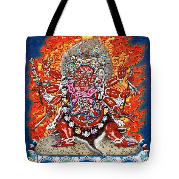 Tibetan Thangka  - Wrathful Deity Hayagriva Tote Bag by Serge Averbukh