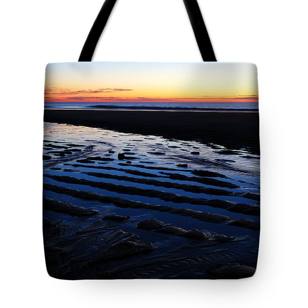 Tidal Ripples at Sunrise Tote Bag by James Kirkikis