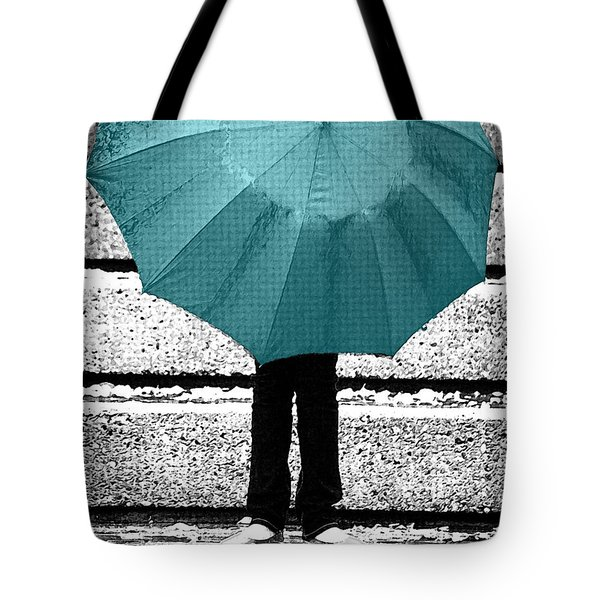 Tiffany Blue Umbrella Tote Bag by Lisa Knechtel