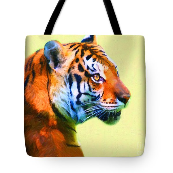 Tiger . 7d2058 . Painterly Tote Bag by Wingsdomain Art and Photography