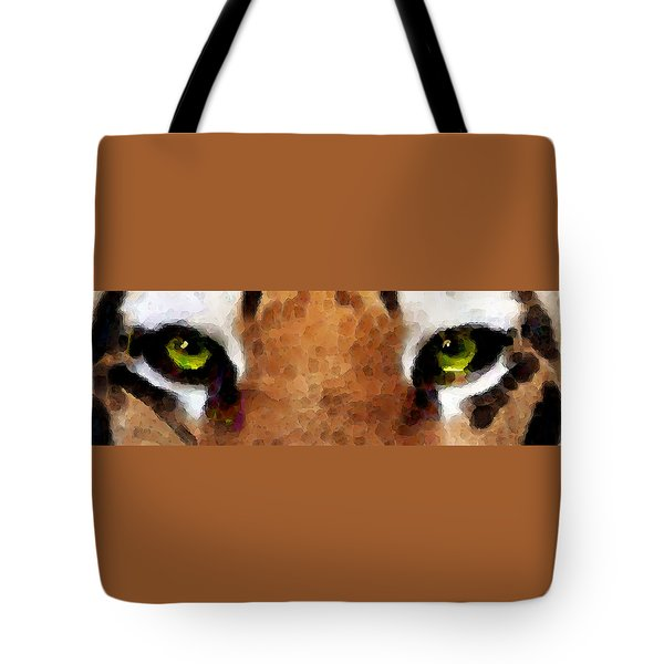 Tiger Art - Hungry Eyes Tote Bag by Sharon Cummings
