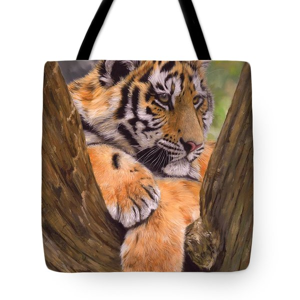 Tiger Cub Painting Tote Bag by David Stribbling